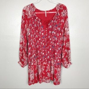 Free People Floral Peasant Tunic Top